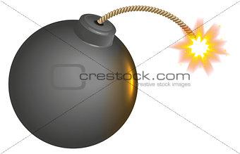 Black round bomb with burning wick