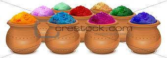 Ceramic pot of paint holi. Festival of colors Holi