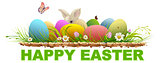 Happy easter. Painted eggs and rabbit on green grass. Template text for greeting card