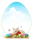 Easter bunny and colored eggs. Easter card template