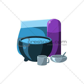 Camping Dishes. Vector Illustration