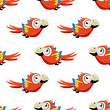 Cute Red Macaw Seamless Pattern