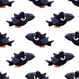 Cute Black Crow Seamless Pattern