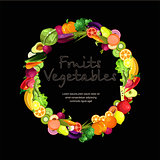 Fruits and vegetables are collected in a wreath