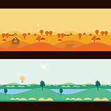 Background Seamless scenery seasons and landscapes, vector