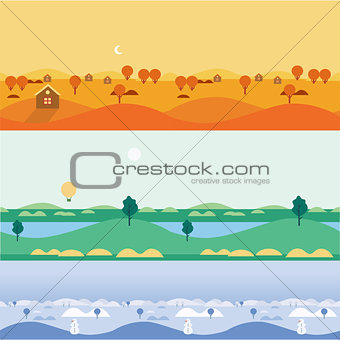 Background seamless landscapes autumn, summer, winter