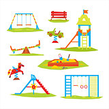 Children Playground, Colourful  Vector Illustration