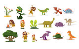 Dinosaurs and Prehistoric Plants, People, Flat Vector Illustration Set