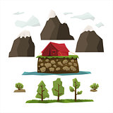 Hiking Landscape Elements Vector Illustration Set