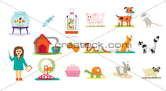 Animal Veterinary Care Flat Isolated Vector Illustration