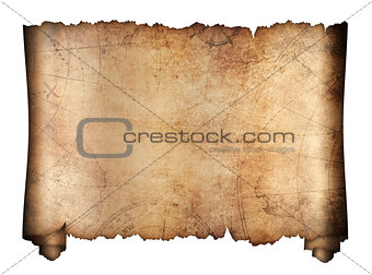 old treasure map roll isolated