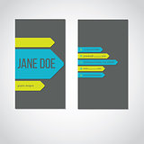 Cool portrait business card with color arrows