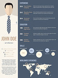 Resume cv template with business man photo