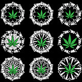 Marijuana cannabis leaf symbol stamp vector illustration