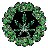 Marijuana green leaf symbol stamps vector illustration