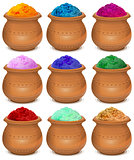 Set ceramic pot of paint holi. Festival of colors Holi