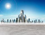 Cityscape with sun