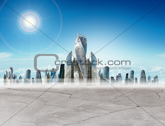 Cityscape with sun