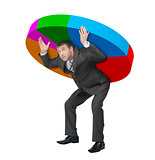Businessman holding pie chart