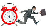 Businessman runaway from alarm clock