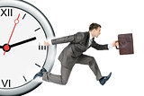 Businessman runaway from clock