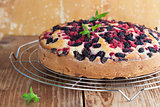Mulberry and red currant cake