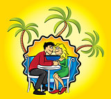 Romantic couple in love and holiday beach background with palms