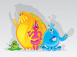 Cute colorful monsters