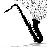 Silhouette of saxophone and music