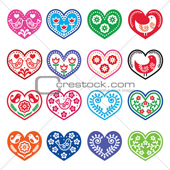 Folk art hearts with flowers and birds icons set