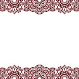 Mehndi, Indian Henna tattoo brown greetings card
