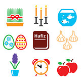 Nowruz - Persian New Year icons set - 21 March