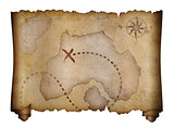 old pirates treasure map scroll