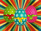 Easter eggs over retro starburst