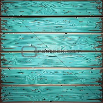 Aquamarine Old Wooden Painted Wall