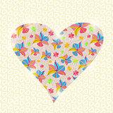 Floral Heart Invitation Valentine Day Card