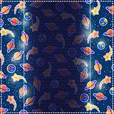 Dark Blue Invitation Card. Cosmic Background