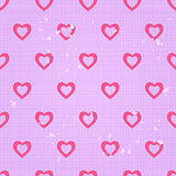Vintage Seamless Pattern with White Lines and Pink Hearts