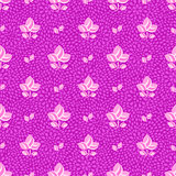 Pink Flowers on Purple Seamless Background