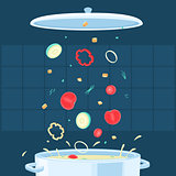 Vector Illustration Cooking Soup