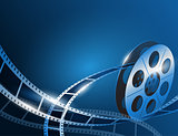 Illustration of a film stripe reel on shiny blue movie background