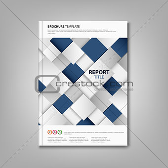 Brochures book or flyer with abstract blue white cubes