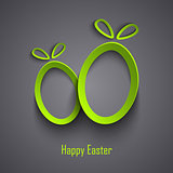 Easter card with abstract design cutouts green eggs