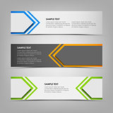 Horizontal banners with abstract colored arrows