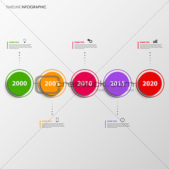 Time line info graphic with colorful design circles template