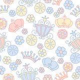 Hand drawn vector seamless princess pattern