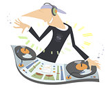 Cartoon funny DJ illustration
