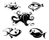 Decorative octopus and fish illustration set