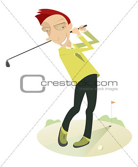 Angry golfer playing golf