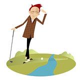 Golfer and water hazard